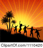 1110420-Clipart-Silhouetted-People-Dancing-And-Jumping-By-Palm-Trees-Under-A-Tropical-Sunset-Burst-Royalty-Free-Vector-Illustration